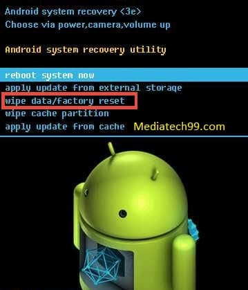 Android Wipe data and factory reset