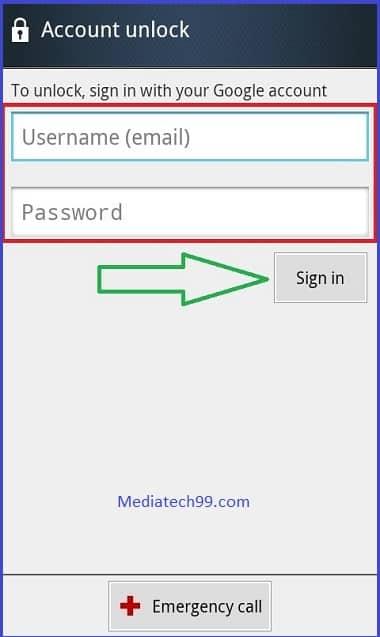 Unlock pattern lock with Google account