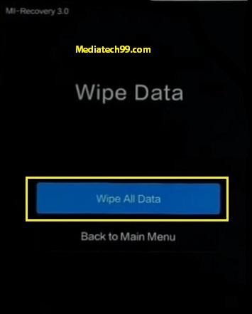 xiaomi hard reset wipe all data option