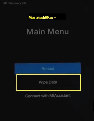 xiaomi hard reset wipe data option